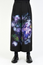 2020 S/S LAD MUSICIAN INKJET FLOWER 2TUCK CROPPED WIDE SLACKS
