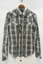 2015 S/S MARBLES L/SL BULLS LAME CHECK WESTERN SHIRTS OLIVE
