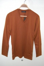 kurkku×LITHIUM HOMME SILKET POC V-NECK LS T L-BROWN