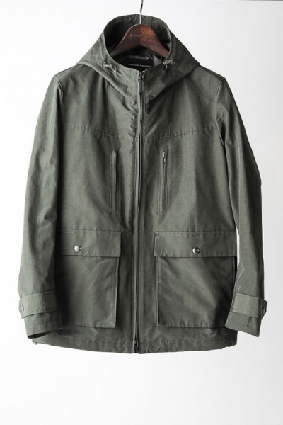 2018 A/W LOUNGE LIZARD C/N HARD GROSGRAIN HOODED JACKET