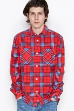 2016 A/W NUMBER (N)INE WORK SHIRTS_FLANNEL CHECK RED