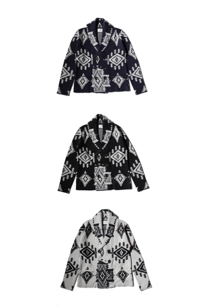 2017 A/W TMT NATIVE JACQUARD KNIT W-BREASTE CARDIGAN