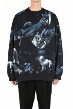 2020 A/W LAD MUSICIAN INKJET BIRD DOG MONKY CREW NECK BIG PULLOVER
