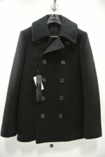 2014 A/W LITHIUM HOMME HEAVY MELTON CLASSIC PEA COAT BLACK