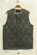 2015 A/W JAMA RICO CHECK QUILTIG VEST CHARCOAL