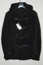 2013 A/W LITHIUM HOMME SUPER 140'S MELTON SHORT DUFFLE COAT BLACK